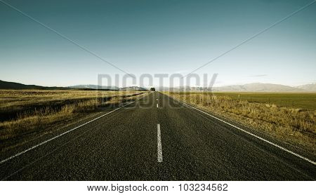 Continuous Road Scenic Mountain Ranges Rural Remote Concept