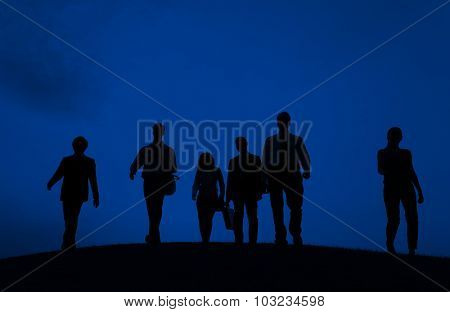 Business People Walking Commuter Outdoors Concept