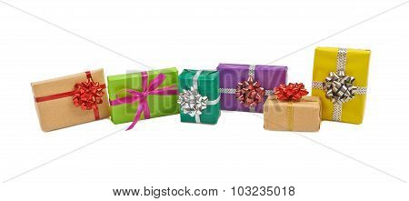 Boxes with gifts on a white