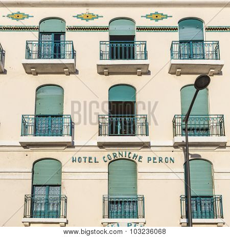 Facade Of Old Hotel Peron In Marseille,