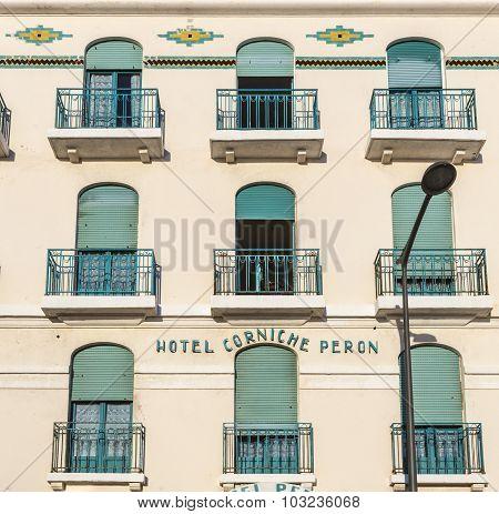 Facade Of Old Hotel Peron In Marseille,