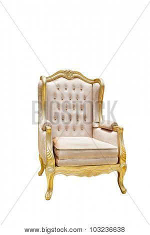 luxury leather chair with golden decorated edge