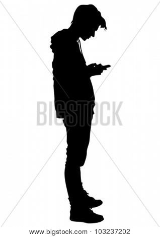 Young man with a phone on a white background