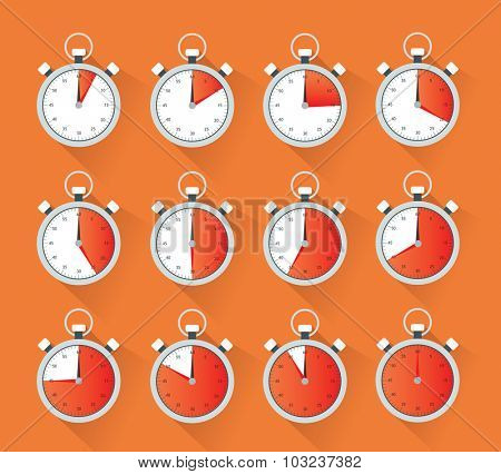 Collection of a stopwatch showing different times in five minutes stops