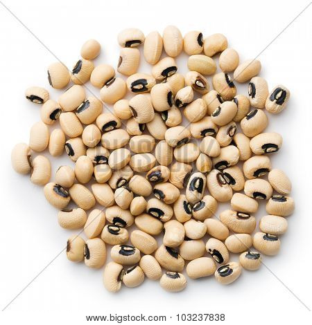 uncooked beans on white background