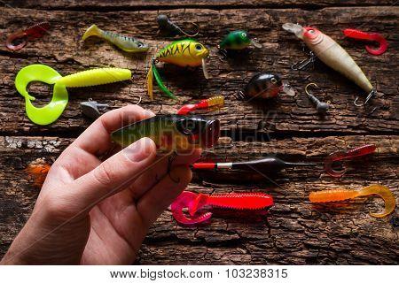 Man Holding Bait For Fishing