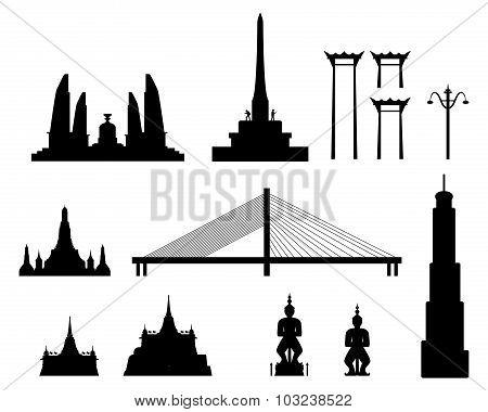 Silhouette Landmark Buildings In Bangkok