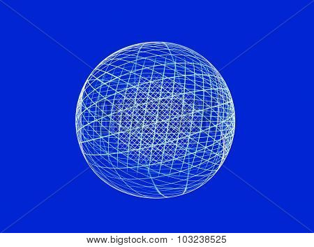 Abstract fractal globe on blue background