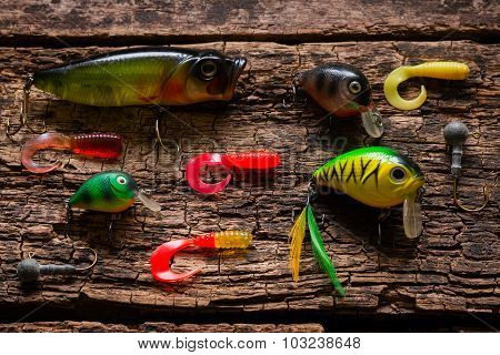 Bait To Catch Fish On A Wooden Background