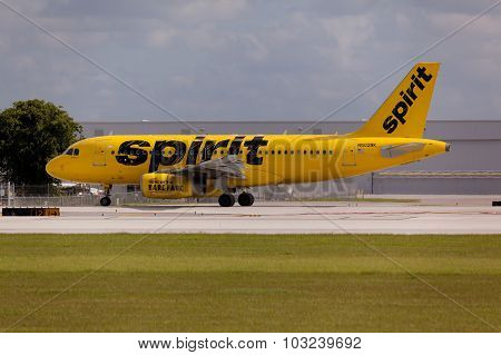 FORT LAUDERDALE, USA - May 24, 2015: A Spirit Airlines Airbus A320 taxiing.