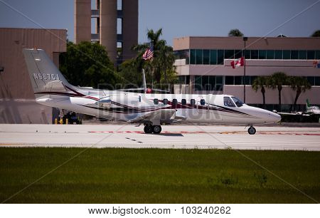 FORT LAUDERDALE, USA - May 24, 2015: Cessna S550 Citation ready for take off.