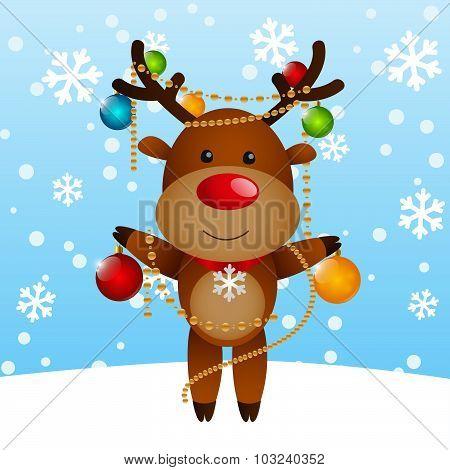Funny deer with Christmas balls