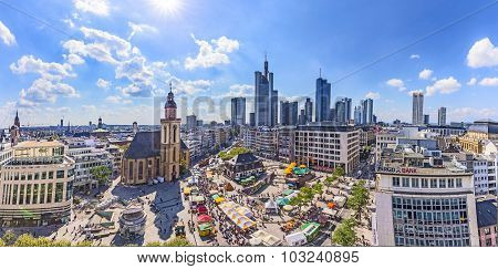Aerial View Of Frankfurt With Hauptwache.