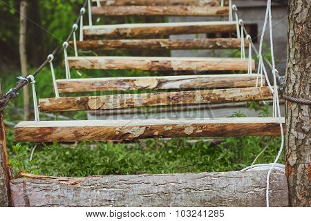 Wooden stairs in the green forest park