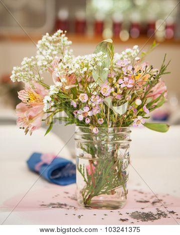 wild flowers in a mason jar
