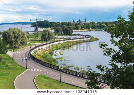 Rivers converge in Yaroslavl, Russia