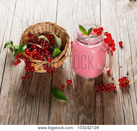 Jar Mug Of Red Currant Milkshake