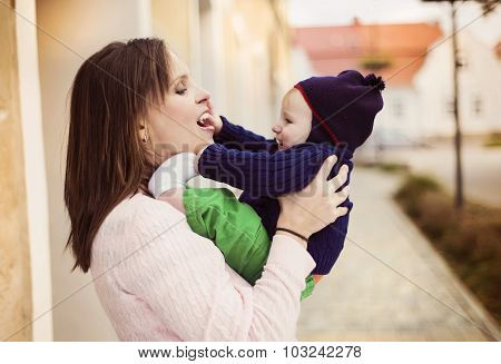 Mother with her son on a walk