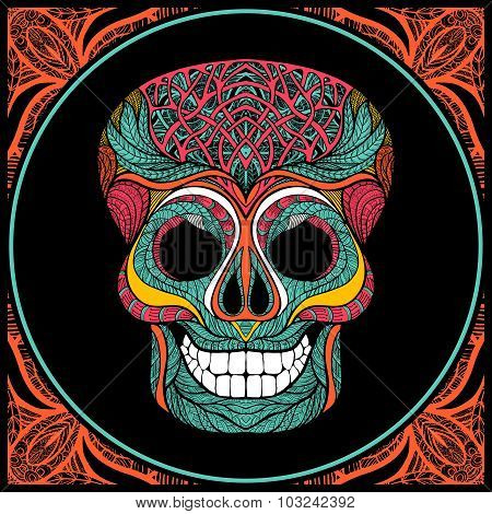 Skull With Colored Pattern