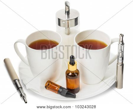 Electronic cigarettes and tasty tea.