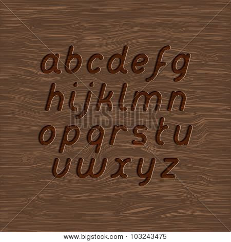 wood texture and carved font set