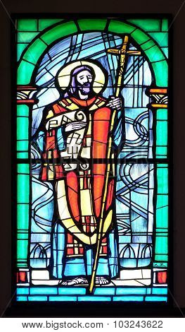 PAKRAC, CROATIA - MAY 07: Saint Cyril, stained glass window in the Church of the Assumption of the Blessed Virgin Mary in Pakrac, Croatia on May 07, 2015