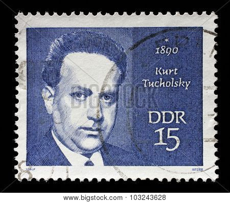 GDR - CIRCA 1970: A stamp printed in GDR shows Kurt Tucholsky (1890-1935), journalist, satirist and writer, circa 1970