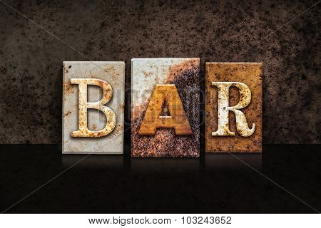 Bar Letterpress Concept On Dark Background
