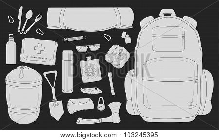 Camping equipment. Chalk