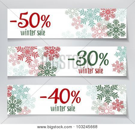 Three winter sales banners with snowflakes