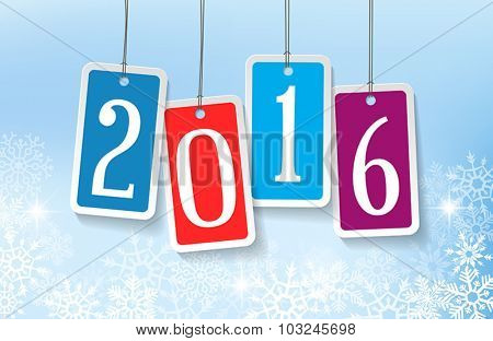 2016 New Year greetings card with four colorful stickers