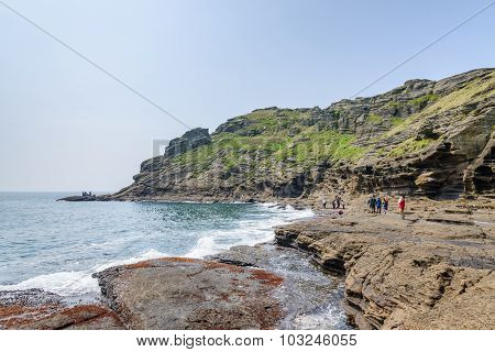 Jeju-do, Korea - April 11, 2015: View Of The Yongmeori Coast In Jeju Island
