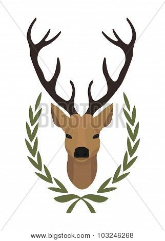 Deer head in laurel wreath. Color