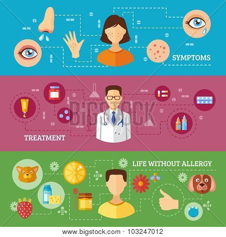 Allergy Symptoms Medical Treatment Horizontal Banners