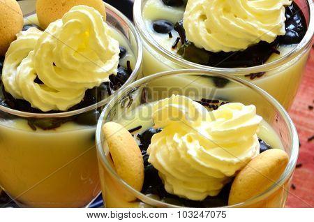Hot homemade vanilla pudding with strawberries and vine berries