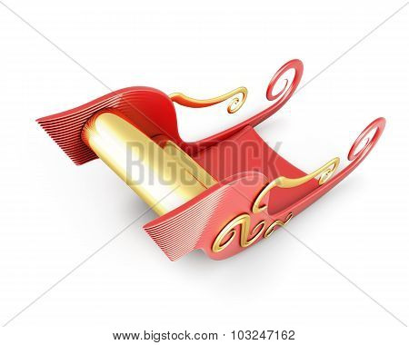 Sleigh Of Santa Claus Isolated On White Background.