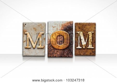 Mom Letterpress Concept Isolated On White