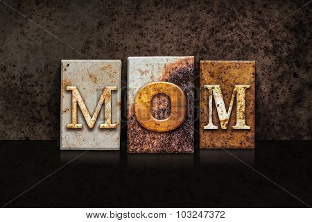 Mom Letterpress Concept On Dark Background