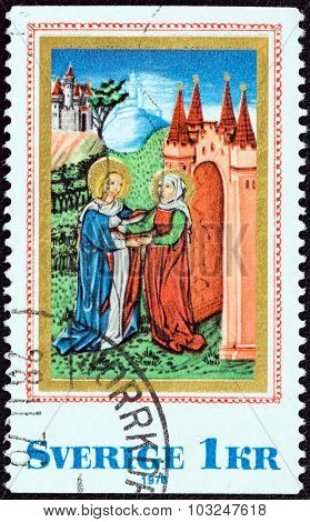 SWEDEN - CIRCA 1976: Stamp shows Prayer to the Virgin (Austrian prayer book)