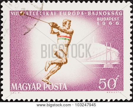 HUNGARY - CIRCA 1966: A stamp printed in Hungary shows Hammer throw