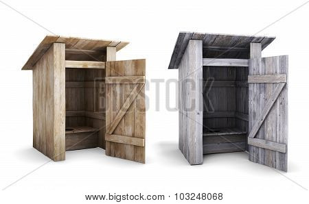Old And New Wooden Outdoor Toilet With The Door Open
