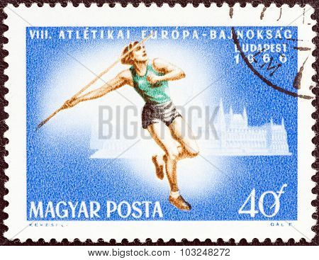 HUNGARY - CIRCA 1966: A stamp printed in Hungary shows Javelin throw