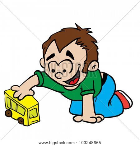 little boy playing with toy bus cartoon illustration