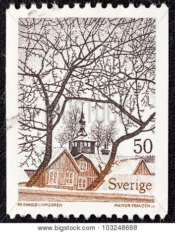 SWEDEN - CIRCA 1973: A stamp printed in Sweden shows View of Trosa (Reinhold Ljunggren)