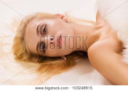 Pretty Blonde Women In A Fur Cape