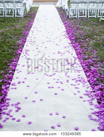purple flower petals lining the aisle for a wedding