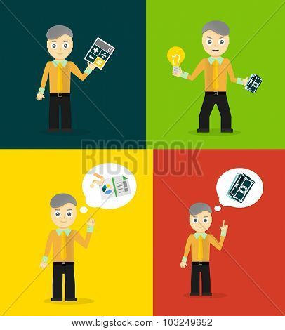 Set of cute cartoon young businessmen. Vector flat design