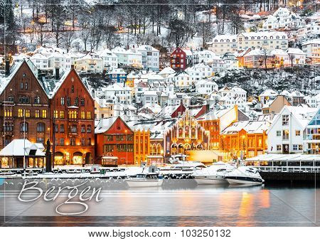 postcard with Famous Bryggen street with wooden colored houses in Bergen, Norway