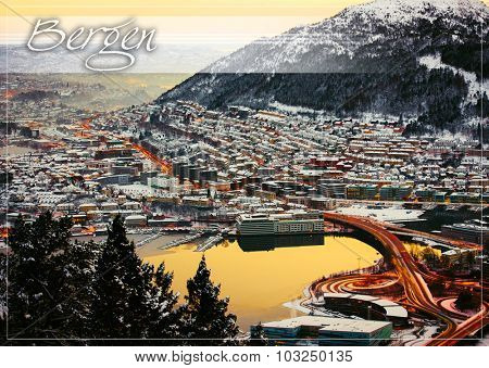postcard with view from the mountains to Bergen in the winter with roads , Norway