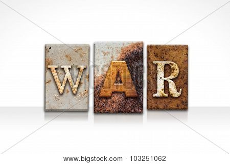 War Letterpress Concept Isolated On White